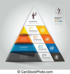 diagram, step., trap, zakelijk, 3d