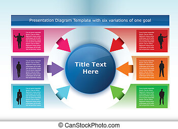 Diagram Template with six options pointing to one element at...