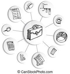diagram, uważając, finansowy, koło, handlowy
