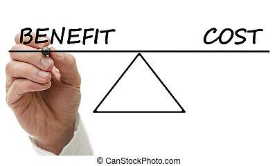 diagram, visande, kosta, förmån, gungbräde