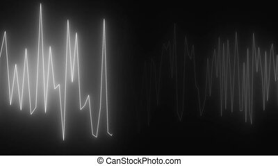Diagram with lighting, cardiogram effect, creative for medical design, 3d computer generated background