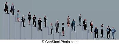 diagram., zakenlui, op, vrijstaand, achtergrond, team, witte