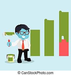 diagram, zakenman, grafisch, schilderij