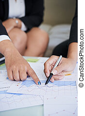 diagrama, analisando, negócio executivo