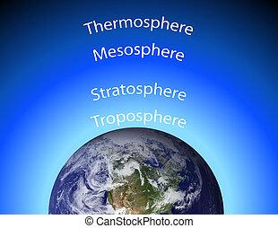 diagrama, atmosfera, earth\'s