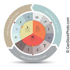 diagrama, círculo, ícones