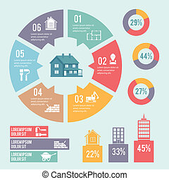 diagrama, círculo, infographic, construção
