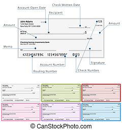 diagrama, cheque, em branco