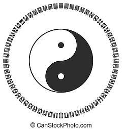 diagrama, ching, hexagrams, yang, yin, símbolo