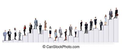 diagrama, comércio pessoas, equipe