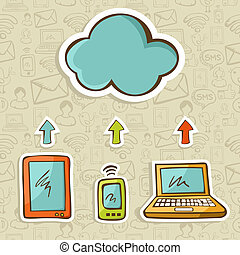 diagrama, conceito, nuvem, computando