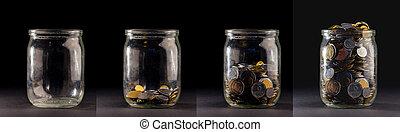 diagrama, concepto, como, coins, -, aislado, vidrio,...
