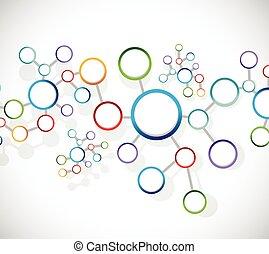 diagrama, conexión, enlace, red, átomos