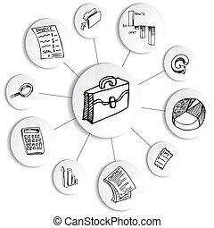 diagrama, contabilidade, financeiro, roda, negócio
