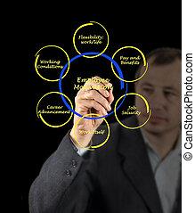 diagrama, de, empregado, motivação