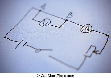 diagrama, de, física
