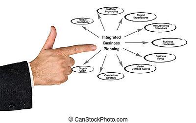 diagrama, de, integrada, negócio, planificação