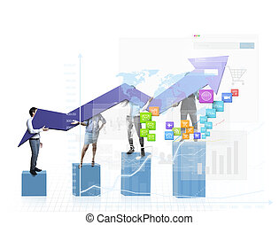diagrama, de, negócio