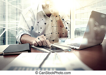 diagrama, documentos, oficina, tableta, gráfico, social, teléfono del negocio, trabajando, plano de fondo, digital, tabla, hombre, elegante, red