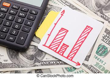 diagrama, e, calculadora, ligado, dinheiro, fundo