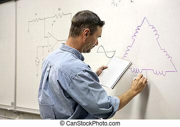 diagrama, -, educación, eléctrico, adulto