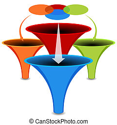 diagrama, embudo, venn, gráfico