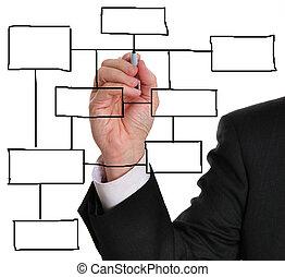 diagrama, empresa / negocio, blanco