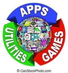 diagrama, esfera, apps, organigrama