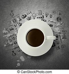 diagrama, estratégia, copo, 3d, negócio, café