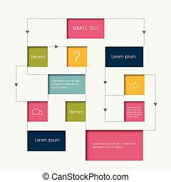 diagrama flujo, scheme., infographics, elements., vector,...