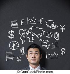 diagrama, frente, chinês, negócio, homem negócios