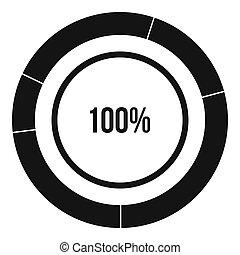 diagrama, gráfico circular, icono, simple, estilo