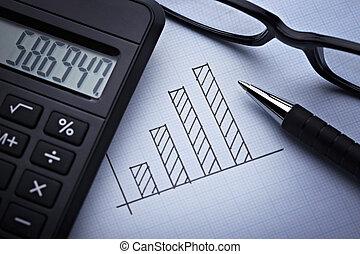 diagrama, gráfico, finanças, negócio