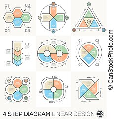 diagrama, gráfico, linear, &, gráfico, chart., infographic, desenho, modelo, linha, apresentação, redondo, elementos, ciclo