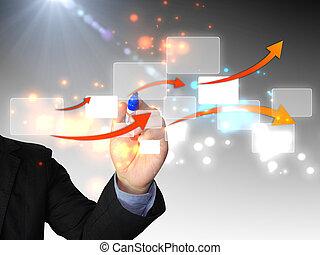 diagrama, hombre de negocios, dibujo, empresa / negocio