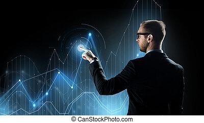 diagrama, hombre de negocios, proyección, virtual, gráfico