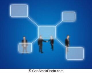 diagrama, hombre de negocios