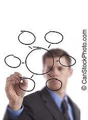 diagrama, homem, desenho, negócio, em branco