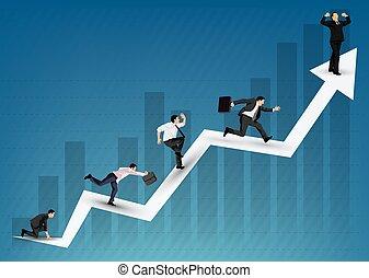 diagrama, ilustração negócio