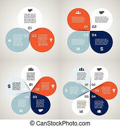 diagrama, infographic, 6, 5, 4, 3, passos, opções