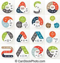 diagrama, infographic, opções, partes, 3, steps.