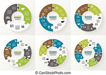 diagrama, infographic., presentation., quebra-cabeça, círculo