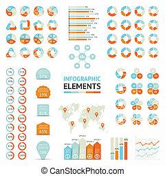 diagrama, infographic, setas, gráfico, elementos