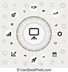 diagrama, jogo, conversando, simples, ilustração, icons.,...
