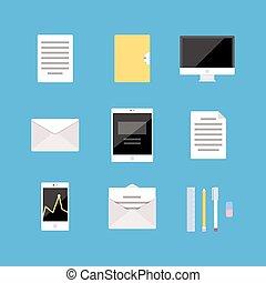 diagrama, jogo, escritório, negócio, móvel, tabuleta, ícones, pc, analytics, computador, telefone, letra, documento, pasta