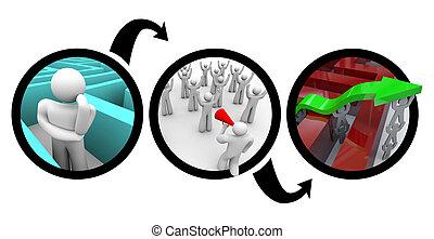diagrama, labirinto, planificação, -, fuga