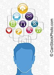 diagrama, mídia, social, homem
