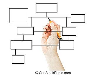 diagrama, mano, dibujo, empresa / negocio, blanco