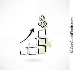 diagrama, moeda corrente, ícone