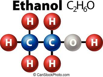 diagrama, molécula, de, etanol